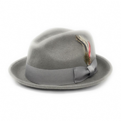 Grey C-Crown Trilby Hat Wool Felt